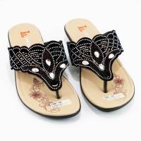 SV202 LOLINDA - Sandal Wedges Wanita Exclusive Jepit Payet Cantik Unik