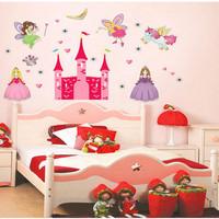 wall paper / stiker tembok princess castle unicorn girly - KHM048