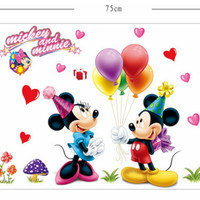 wall paper / stiker tembok mickey & minnie love heart hati - KHM041