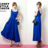 dres maxi biru elektrik / electric blue long dress korea style spandex