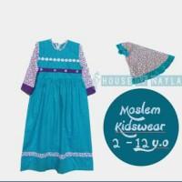 Baju muslim anak gamis hijau tosca