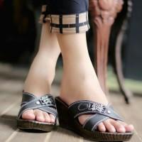 harga Sandal Sepatu Wedges Wanita Cewek Murah Model Slop SDW79 Bagus Baru Tokopedia.com