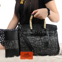 Hermes Birkin leather Taiga With Wallet Free Twilly Hardware BLACK (A1
