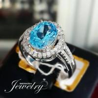 Cincin Berlian Eropa Blue Topaz Ring Emas Putih