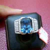 Cincin wanita berlian eropa batu blue topaz london