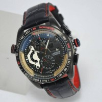Jam Tangan Pria Tag Heuer Carrera Cal36 Leather Black Kw Super