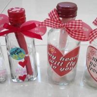 pesan botol tema cinta / i love you / kado kartu ucapan valentine