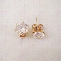 Yaxiya anting tusuk permata perhiasan imitasi warna gold 18K