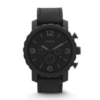 Fossil Nate Chronograph Black Leather - JR1354