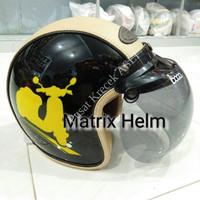 Helm Bogo Ori Retro Gix Vespa Kombinasi Kulit Sint 7GV9