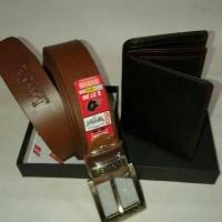 ikat pinggang kulit selapis + dompet kulit satu oaket belanja murah