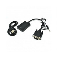 VGA TO HDMI VIDEO ADAPTER WITH USB AND AUX AUDIO CABLE - BLACK