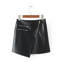 Leather Skirt/Rok Kulit Hitam Mini/Pendek-A-Line skirt Import Murah