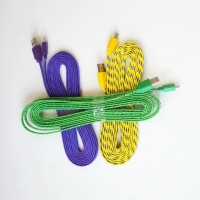 Kabel Data / USB Charge Motif Tali Sepatu Gepeng 3m