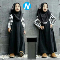 Hijab Anak Cantik Black Salur Fit 3-5 th, Dress+Pashmina |Ainun Hjb St