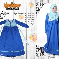 Dress ANJANI Blue (Plus Jilbab), Size S M L XL, Thaluna Kids, Murah,