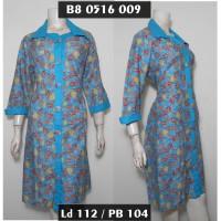 Dress Batik Jumbo XXL / Tunik Batik Biru / Sekdress Wanita Big Size 3L