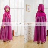 dress muslim anak / gamis anak muslim Lnice 5906 ungu size besar