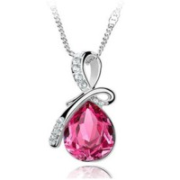 Queen Angel Teardrop Crystal Pendants Necklace 925 Sterling Rose