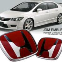 Red Honda logo untuk Civic FD emblem depan & belakang