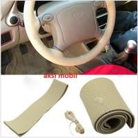 Setir Mobil/Cover Stir Mobil Sarung Stir Model Jahit Beige Coklat Muda