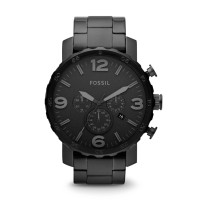 Fossil JR1401 - Nate Chronograph Black Stainless Steel Watch