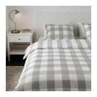 Jual IKEA EMMIE RUTA Sarung quilt 4 bantal guling motif kotak abu putih 220 Murah
