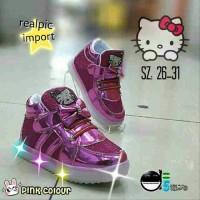 Sepatu Kets Anak Hello Kitty Import Led Boot Sepatu Nyala