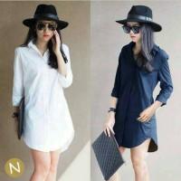 Jual dress navy / longhem putih / white dress / kemeja wanita navy Murah