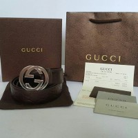 JUAL BELT GUCCI BROWN EMBOSS G BUCKLE SILVER MIRROR QUALITY