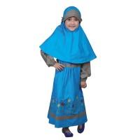setelan gamis baju muslim anak cis246 biru