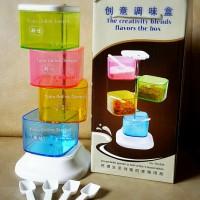 Jual PROMO Tempat Bumbu Rainbow Miracle Tingkat 4 Kotak Seasoning Jar Murah