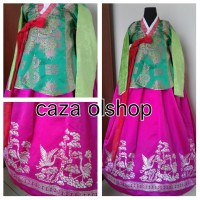 Hanbok royal korea jeogori hijau bordir merak chima pink fuchia