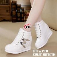 Sepatu Kets White Putih black Silver Keren Murah Wedges Platform Unik