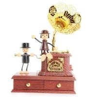 harga kado elegant ultah gramophone vintage kotak musik romantis Tokopedia.com