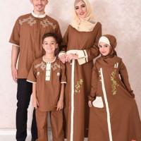 Sarimbit Keluarga 38 Nibras Baju Muslim Family bhan Katun Twill Coklat