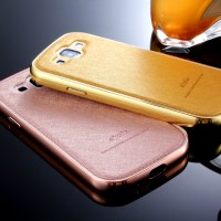 Luxury Leather Metal Bumper Case for Samsung Galaxy S3