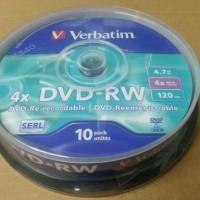 DVDRW VERBATIM 4.7GB / DVD-RW Verbatim 4x tabung 10