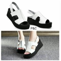 Sepatu Wedges Wanita Tali V Putih Dan Hitam Supplier Reseler Sepatu