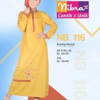 Gamis Nibras NB 116 Katun Twill Kuning Bordir Busui
