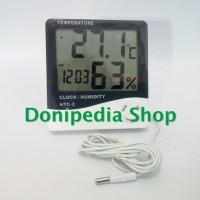 Thermometer Digital HTC-2 + Hygrometer Clock Alarm Calendar With Probe