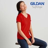 Kaos Polos Wanita Gildan 63V00L Vneck Softstyle