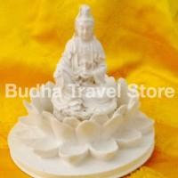 Patung Dewi Kwan Im (Kuan Yin) Bersila Memegang Kendi diatas Lotus 6