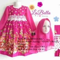Baju Gamis/Muslim Anak Labella (Usia 7 - 11th) SB102-CR3 Pink No.28