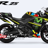 Decal Striping/Stiker YAMAHA-R25-MONSTER-BLACK-ROSSI VR 46