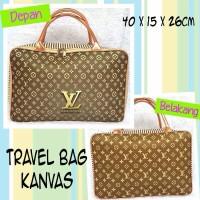Tas Travel Bag Koper Kanvas Renang Kotak Dewasa Louis Vuitton LV Gold