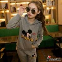 Baju Tidur Setelan Panjang - Piyama Sleepwear Lucu Set Miki Mouse Grey
