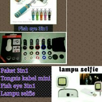 Jual paket tongsis kabel mini fish eye 3in1 lampu selfie Murah