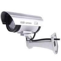 CCTV dummy palsu SILVER lengkap dengan kabel, tenaga baterai