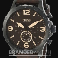 Jam Tangan Fossil JR1487 Nate Chronograph Dark Brown Black